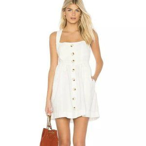 NWOT FREE PEOPLE white Jumper Dress Sz 10 Buttons